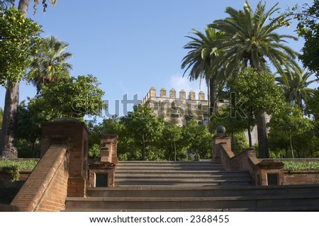 raising the sherry Alcazar (Spain) - stock photo