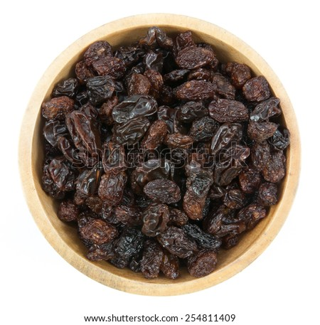 raisins in a bowl  isolated on white background - stock photo
