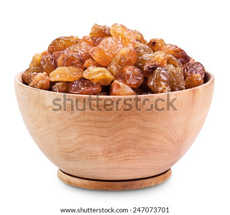 raisins in a bowl on a white background. Clipping Path - stock photo