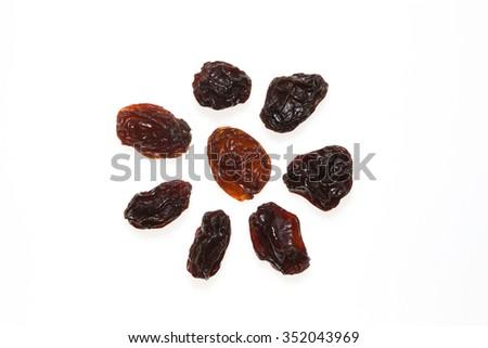 Raisins isolated on white background. - stock photo