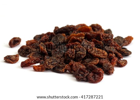 raisins on a white background dried grapes - stock photo