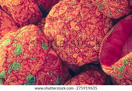 Rajasthan turbans on the market - stock photo
