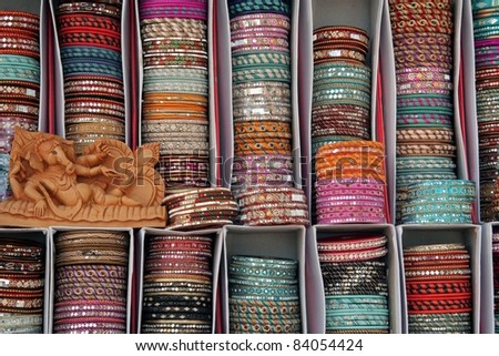 Rajasthani glass bangles, Jaipur, India - stock photo