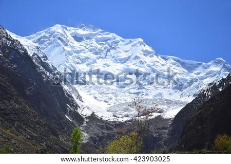 Rakaposhi peak , Karakorum range on the way to Hunza valley , northern of Pakistan - stock photo