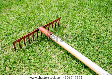 Rake lying on grass in the golf course. - stock photo