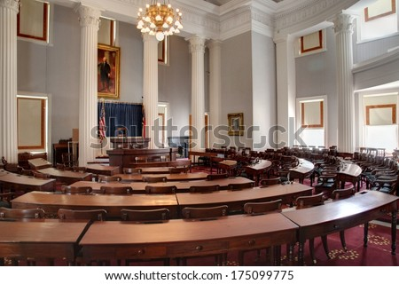 RALEIGH, NC - JANUARY 29, 2014 - Interior of the Historic Senate chamber of the North Carolina State Capitol - stock photo
