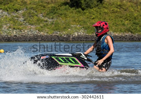 RALEIGH, NORTH CAROLINA - AUG 2: Raleigh Racing watercross team gets in a practice session testing their skills on 2 Aug 2015 at Lake Jordan