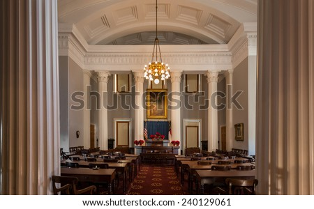 RALEIGH, NORTH CAROLINA - DECEMBER 12: Historic House of Representatives chamber of the North Carolina State Capitol building on December 12, 2014 in Raleigh, North Carolina