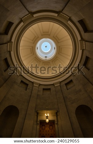 RALEIGH, NORTH CAROLINA - DECEMBER 12: Inner dome from the rotunda of the North Carolina State Capitol building on December 12, 2014 in Raleigh, North Carolina - stock photo