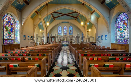 RALEIGH, NORTH CAROLINA - DECEMBER 11: Interior of the Sacred Heart Cathedral (1924) on December 11, 2014 in Raleigh, North Carolina - stock photo