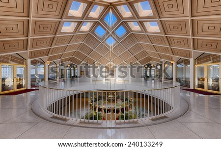 RALEIGH, NORTH CAROLINA - DECEMBER 11: Rotunda in the State Legislative building on December 11, 2014 in Raleigh, North Carolina  - stock photo
