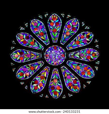 RALEIGH, NORTH CAROLINA - DECEMBER 12: Stained glass rose window in the Church of the Good Shepherd on December 12, 2014 in Raleigh, North Carolina
