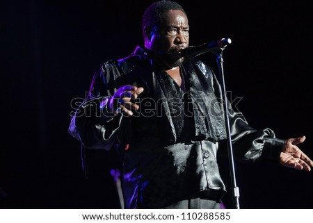RALEIGH, NORTH CAROLINA - JULY 20: singer Eddie Levert performs on stage at Time Warner Cable Music Pavilion at Walnut Creek on July 20, 2012 in Raleigh, North Carolina. - stock photo