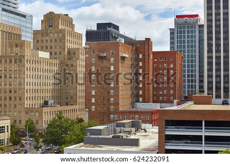 RALEIGH, NORTH CAROLINA - SEPTEMBER 10, 2015 - View of downtown Raleigh buildings from the west