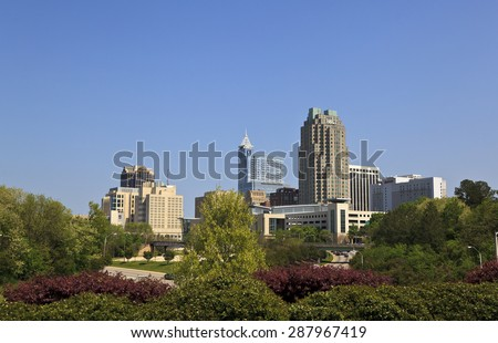 Raleigh, North Carolina, USA - April 4, 2012: Raleigh Skyline in the daytime in spring.