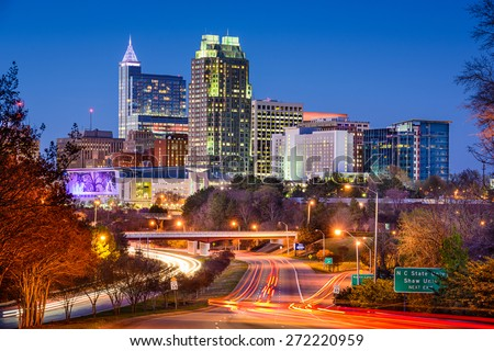 Raleigh, North Carolina, USA downtown city skyline. - stock photo