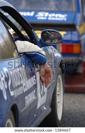 Rally Driver Waiting - stock photo