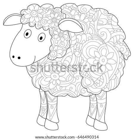 Ram Animal Coloring Book For Adults Raster Illustration Anti Stress Adult Herbivorous
