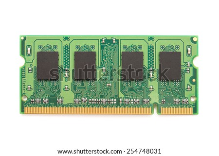 RAM Computer Memory Chip Module Isolated On White - stock photo