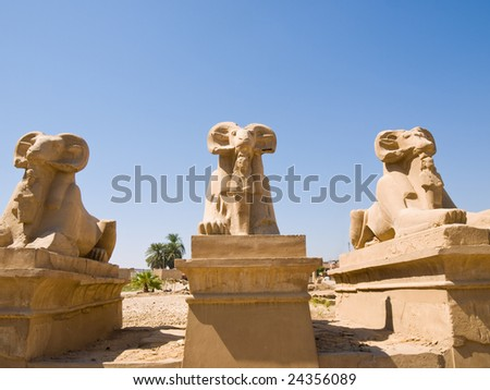 Ram-headed sphinxes at Karnak temple