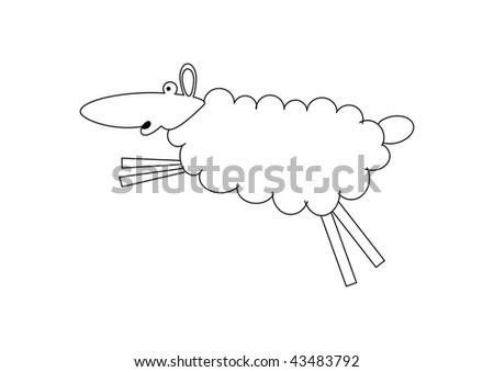 Ram Lamb Sheep Outline Cute Farm Stock Illustration ...