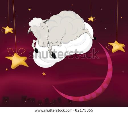 Ram on a cloud - stock photo