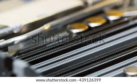 RAM socket on computer main board, closeup background
