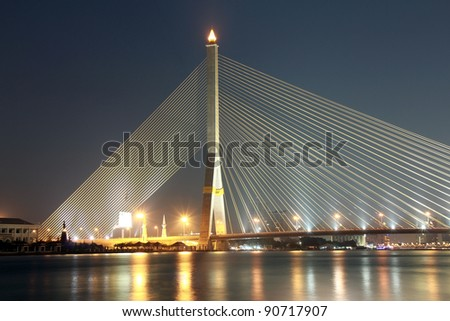 rama 8 suspension bridge at night - stock photo