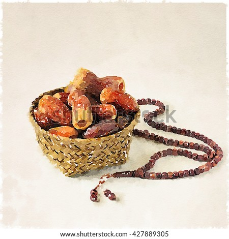 Ramadan dates and rosary. Dates in a palm basket with prayer beads. Water color fine art image. - stock photo