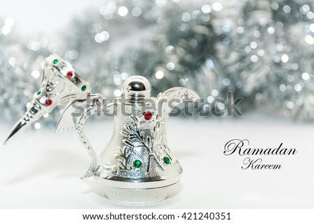 Ramadan Kareem background. Silver concept.  - stock photo