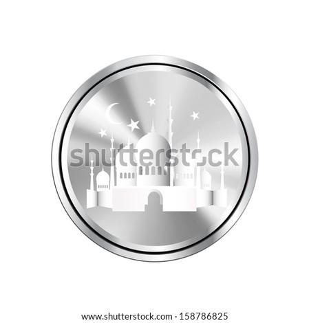 Ramadan Kareem background with 3d paper - stock photo