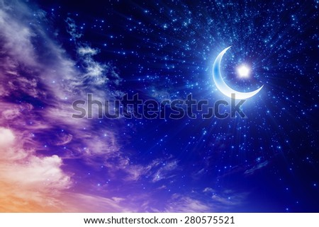 Ramadan Kareem background with shining moon and stars, holy month - stock photo
