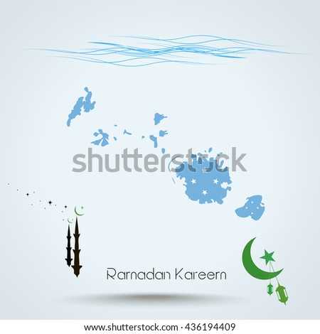 Ramadan Kareem, Feast of Ramadan in Federated States of Micronesia, Map flag of Federated States of Micronesia, Islamic holiday,    - stock photo
