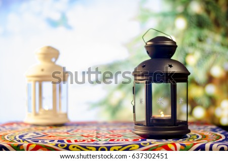 Ramadan Kareem with Tree Bokeh background, Ramadan lantern, Lamp photography, Ramadan Festival, Generous Ramadan