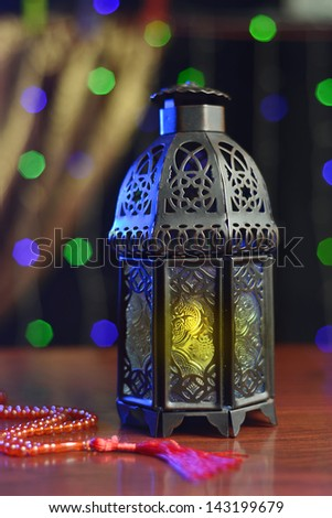 Ramadan lantern and rosary - stock photo