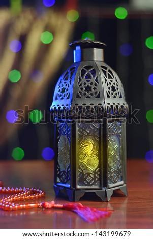 Ramadan lantern and rosary - stock photo
