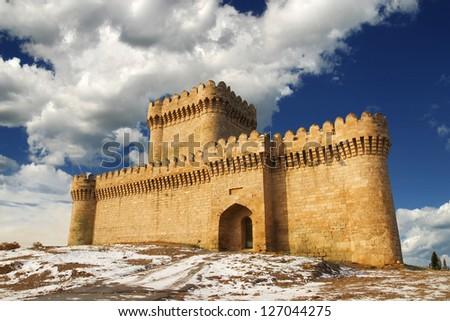 Ramani Castle Azerbaijan XIV age in Winter - stock photo