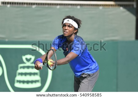 Ramat HaSharon, ISRAEL - October 28-30, 2016 Davis Cup match: Israel vs Sweden. Elias Ymer (Sweden) in action during the match against Amir Weintraub (Israel) at Canada Stadium in Ramat HaSharon TC.