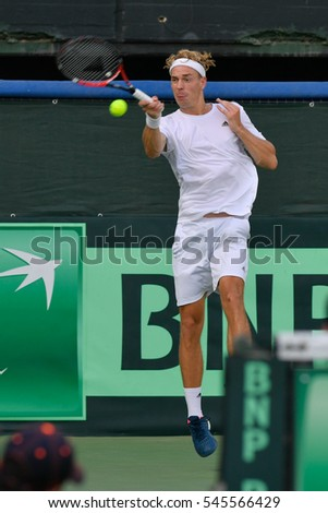 Ramat HaSharon, ISRAEL - October 28-30, 2016 Davis Cup match: Israel vs Sweden. Isak Arvidsson (Sweden) during the match against Edan Leshem (Israel) at Canada Stadium in Ramat HaSharon Tennis Center