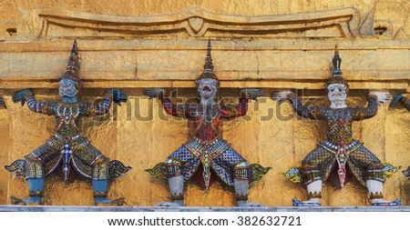 Ramayana figures, giants and monkey, at the Grand Palace, Bangkok, Thailand