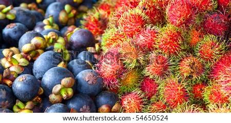 Rambutan and Mangosteen - stock photo