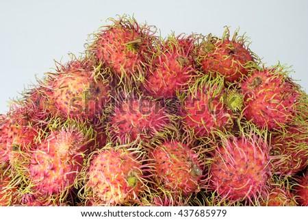 Rambutan fresh fruit, Rambutan in dish , Sweet delicious fruit, Selective focus - stock photo