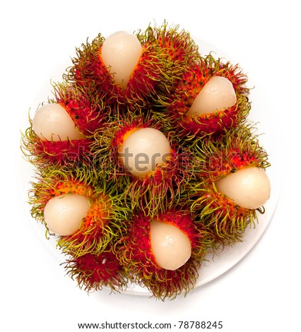 Rambutan fruit on isolate background of Thailand - stock photo