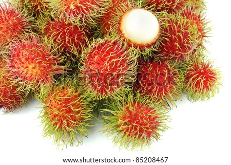 Rambutan is a fruit with sweet red shell - stock photo