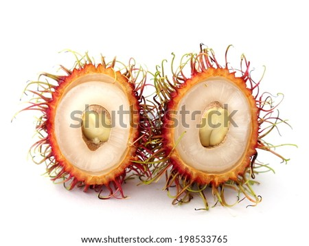 Rambutan isolated on white background - stock photo