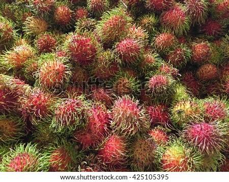 rambutan sweet delicious fruit.background of fresh Thai rambutans - stock photo