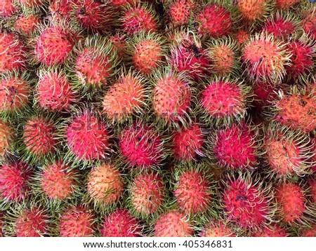 Rambutan sweet delicious fruit.background of fresh Thai rambutans. rambutan pattern  background. - stock photo