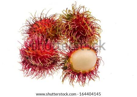 Rambutan Thai famous fruit isolated - stock photo