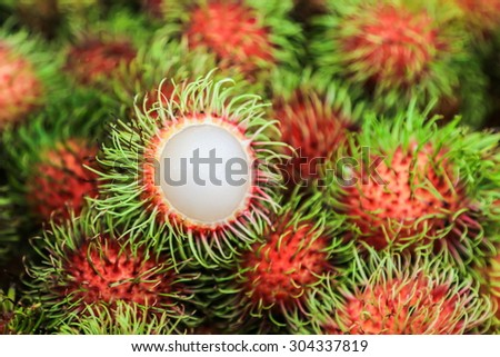 Rambutan Thai fruit,sweet and delicious - stock photo