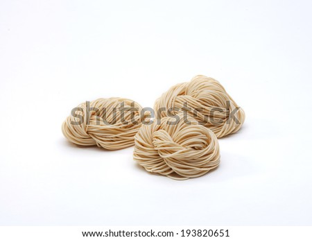 Ramen dried noodles isolated on white background - stock photo